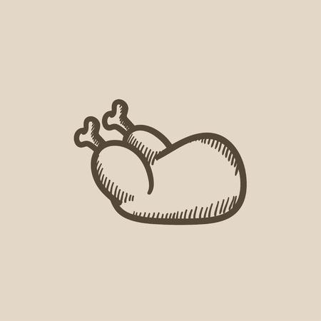 raw chicken: Raw chicken vector sketch icon isolated on background. Hand drawn Raw chicken icon. Raw chicken sketch icon for infographic, website or app.