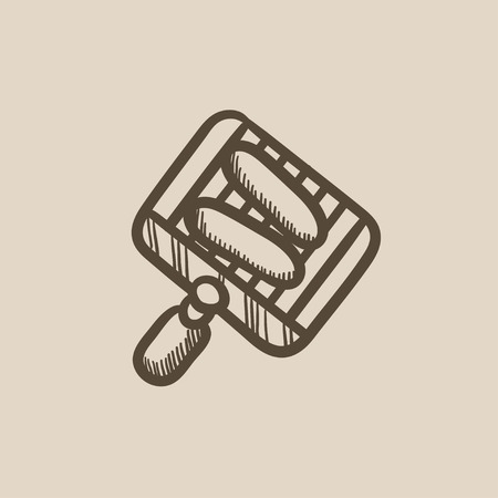 Grilled sausages on grate for barbecue vector sketch icon isolated on background. Hand drawn Grilled sausages on grate for barbecue icon. Grilled sausages sketch icon for infographic, website or app. Ilustração