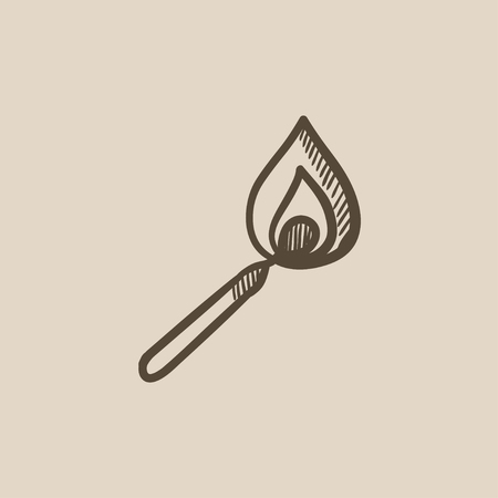 Burning match vector sketch icon isolated on background. Hand drawn Burning match icon. Burning match sketch icon for infographic, website or app. Çizim