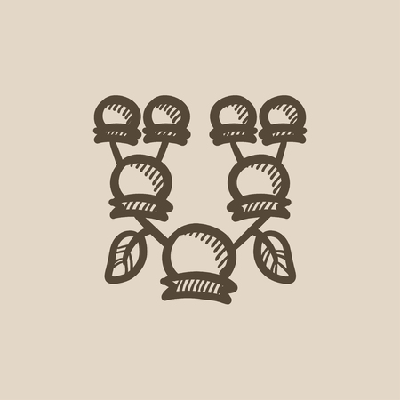 genealogical: Family tree vector sketch icon isolated on background. Hand drawn Family tree icon. Family tree sketch icon for infographic, website or app.