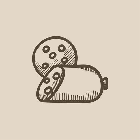 wurst: Sliced wurst vector sketch icon isolated on background. Hand drawn Sliced wurst icon. Sliced wurst sketch icon for infographic, website or app.