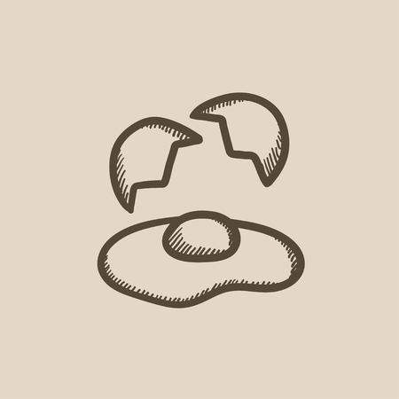 Broken egg and shells vector sketch icon isolated on background. Hand drawn Broken egg and shells icon. Broken egg and shells sketch icon for infographic, website or app. Фото со стока - 59275823