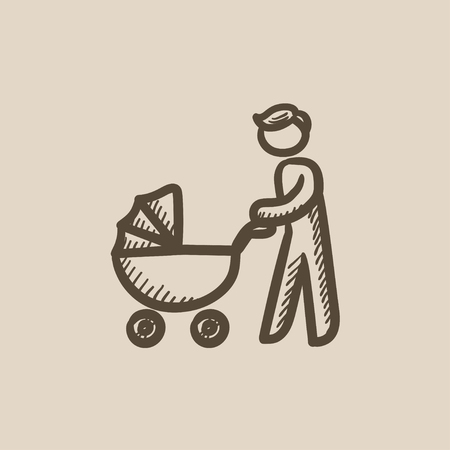 fatherhood: Man walking with baby stroller vector sketch icon isolated on background. Hand drawn Man walking with baby stroller icon. Man walking with baby stroller sketch icon for infographic, website or app.