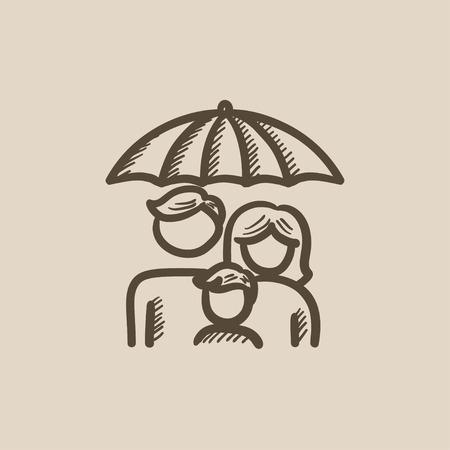 Familienversicherungsvektor-Skizzenikone lokalisiert auf Hintergrund. Hand gezeichnete Familienversicherungsikone. Familienversicherungsskizzenikone für infographic, Website oder APP. Standard-Bild - 59275835
