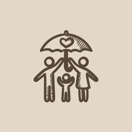 Familienversicherung Vektor Skizze Symbol auf Hintergrund isoliert. Handfamilienversicherung Symbol gezogen. Familienversicherung Skizze Symbol für Infografik, die Website oder App. Standard-Bild - 59275838