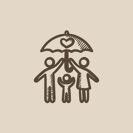 Family insurance vector sketch icon isolated on background. Hand drawn Family insurance icon. Family insurance sketch icon for infographic, website or app. Stock Vector - 59275838