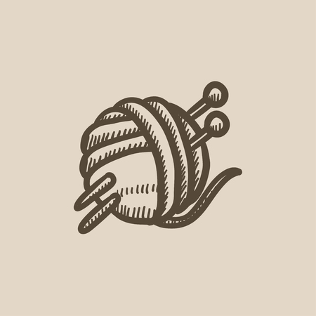 spokes: Threads for knitting with spokes vector sketch icon isolated on background. Hand drawn Threads for knitting with spokes icon. Knitting sketch icon for infographic, website or app.