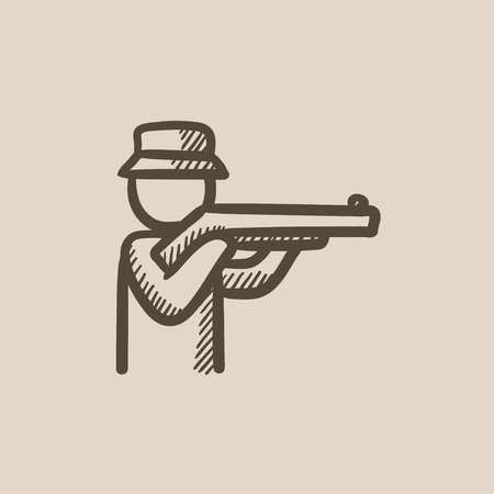 huntsman: Hunter vector sketch icon isolated on background. Hand drawn Hunter icon. Hunter sketch icon for infographic, website or app.