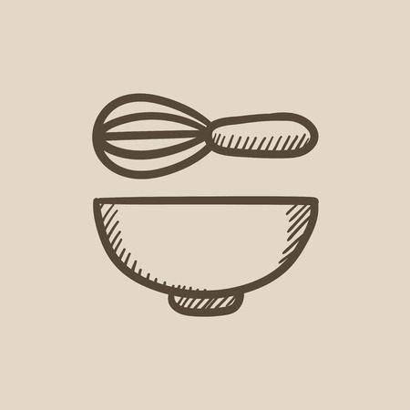 stir: Whisk and bowl vector sketch icon isolated on background. Hand drawn Whisk and bowl icon. Whisk and bowl sketch icon for infographic, website or app.