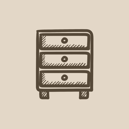 chest of drawers: Chest of drawers vector sketch icon isolated on background. Hand drawn Chest of drawers icon. Chest of drawers sketch icon for infographic, website or app. Illustration