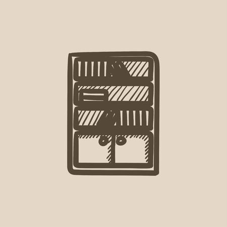 bookcase: Bookcase vector sketch icon isolated on background. Hand drawn Bookcase icon. Bookcase sketch icon for infographic, website or app.