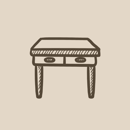 drawers: Table with drawers vector sketch icon isolated on background. Hand drawn Table with drawers icon. Table with drawers sketch icon for infographic, website or app.