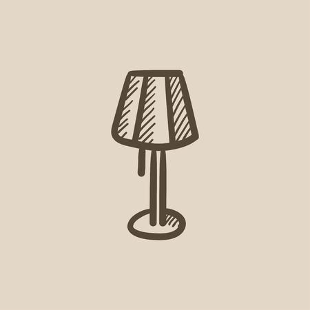 Stehlampe gezeichnet  Runder Tisch Vektor Skizze Symbol Isoliert Auf Den Hintergrund ...