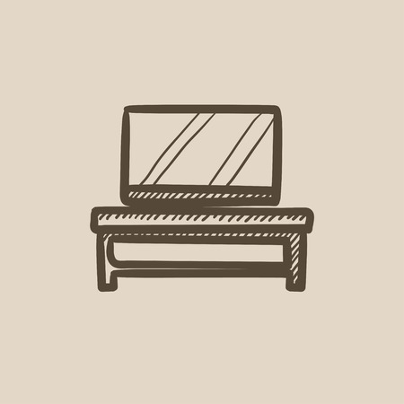 flat screen tv: Flat screen tv on modern tv stand vector sketch icon isolated on background. Hand drawn Flat screen tv on tv stand icon. Flat screen tv on modern tv stand sketch icon for infographic, website or app.
