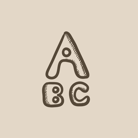 lexicon: Letters painted in bold vector sketch icon isolated on background. Hand drawn Letters painted in bold icon. Letters painted in bold sketch icon for infographic, website or app.