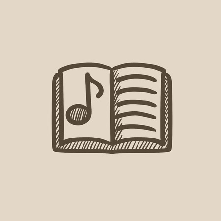 music book: Music book vector sketch icon isolated on background. Hand drawn Music book icon. Music book sketch icon for infographic, website or app.