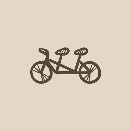 Tandem: Tandem bike vector sketch icon isolated on background. Hand drawn Tandem bike icon. Tandem bike sketch icon for infographic, website or app. Illustration