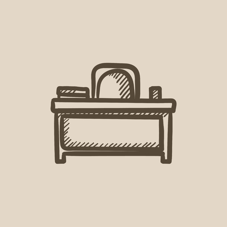 comfort classroom: Desk and chair vector sketch icon isolated on background. Hand drawn Desk and chair icon. Desk and chair sketch icon for infographic, website or app.