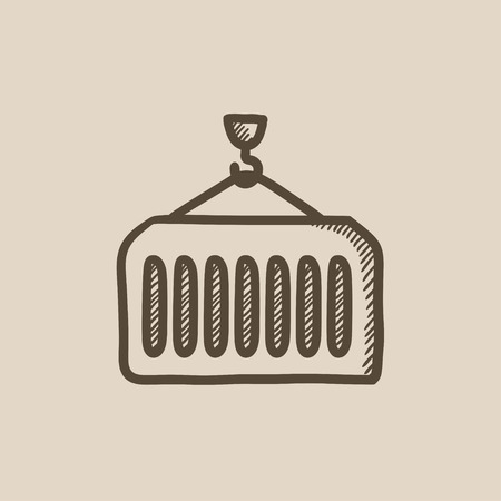 haul: Cargo container vector sketch icon isolated on background. Hand drawn Cargo container icon. Cargo container sketch icon for infographic, website or app. Illustration