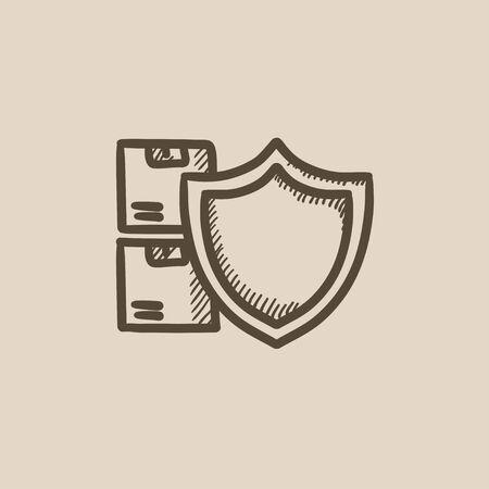 Die Versicherung der Ladungen Vektor Skizze Symbol auf Hintergrund isoliert. Handcargoversicherung Symbol gezogen. Die Versicherung der Ladungen Skizze Symbol für Infografik, die Website oder App. Standard-Bild - 59276764