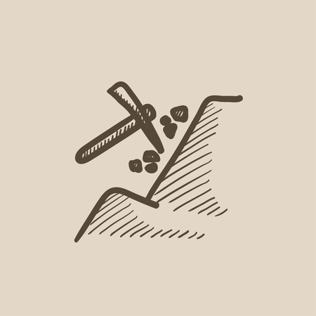mattock: Mining vector sketch icon isolated on background. Hand drawn Mining icon. Mining sketch icon for infographic, website or app. Illustration
