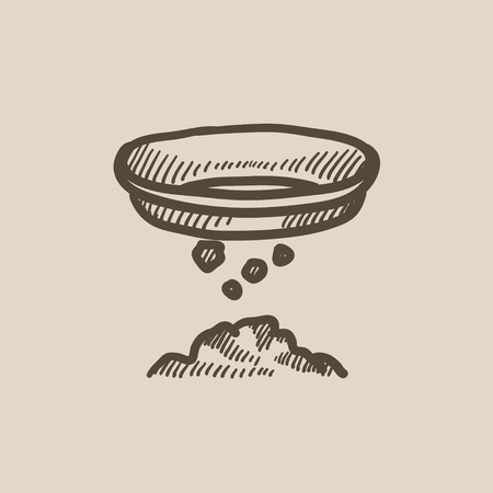 sifting: Mining vector sketch icon isolated on background. Hand drawn Mining icon. Mining sketch icon for infographic, website or app. Illustration