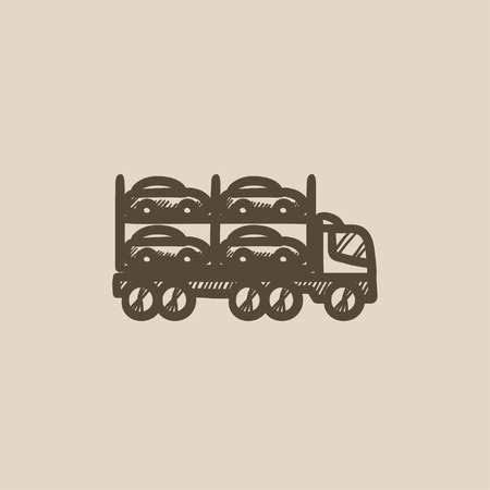 car carrier: Car carrier vector sketch icon isolated on background. Hand drawn Car carrier icon. Car carrier sketch icon for infographic, website or app. Illustration