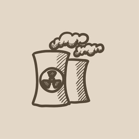 Planta De Energía Nuclear De Dibujo Icono Del Vector Aislado En El