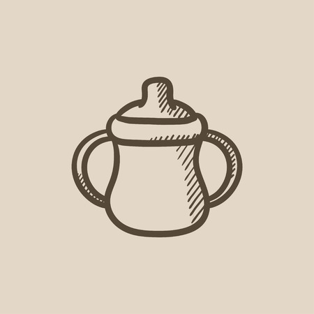 suckling: Baby bottle with handles vector sketch icon isolated on background. Hand drawn Baby bottle with handles icon. Baby bottle with handles sketch icon for infographic, website or app.