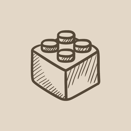 building block: Building block vector sketch icon isolated on background. Hand drawn Building block icon. Building block sketch icon for infographic, website or app.