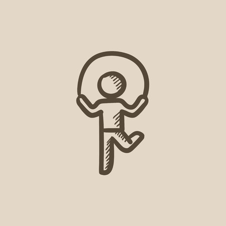 rope vector: Child jumping rope vector sketch icon isolated on background. Hand drawn Child jumping rope icon. Child jumping rope sketch icon for infographic, website or app.