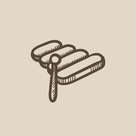 xilofono: Xilófono de vectores icono de boceto aislado en el fondo. Dibujado a mano icono de xilófono. dibujo icono de xilófono de infografía, sitio web o aplicación.