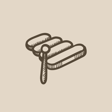 xylophone: Xylophone vector sketch icon isolated on background. Hand drawn Xylophone icon. Xylophone sketch icon for infographic, website or app.