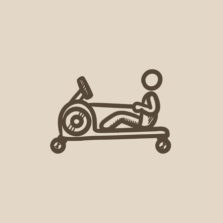 endurance: Man exercising with gym apparatus vector sketch icon isolated on background. Hand drawn Man exercising with gym apparatus icon. Man exercising in gym sketch icon for infographic, website or app.