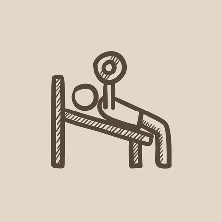 L'homme couché sur le banc et de levage barbell icône vecteur d'esquisse isolé sur fond. Main Man dessinée de levage icône barbell. Man levage barbell icône esquisse pour infographie, site Web ou application. Banque d'images - 59278427