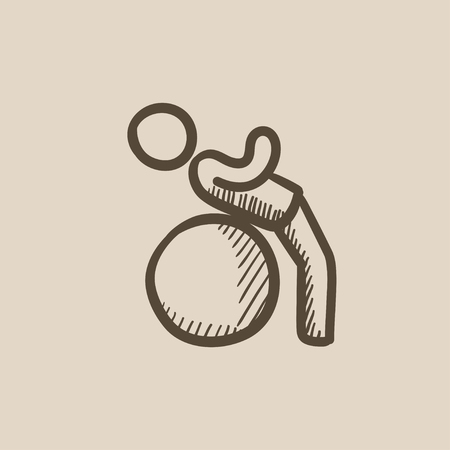 Man doing exercises on gym ball vector sketch icon isolated on background. Hand drawn Man doing exercises on gym ball icon. Man doing exercises on gym ball sketch icon for infographic, website or app. Ilustração