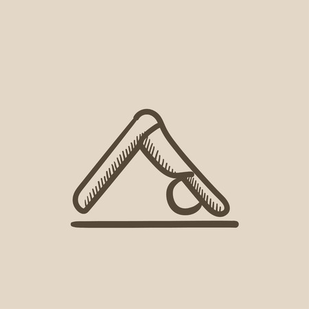 downward: Yoga downward facing dog pose vector sketch icon isolated on background. Hand drawn yoga downward facing dog pose icon. Yoga downward facing dog pose sketch icon for infographic, website or app.