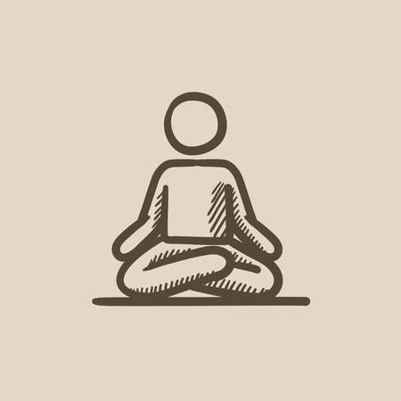 elasticidad: Un hombre meditando en posici�n de loto dibujo icono del vector aislado en el fondo. Dibujado mano del hombre meditando en posici�n de loto icono. Hombre meditando en posici�n de loto dibujo icono de infograf�a, sitio web o aplicaci�n. Vectores