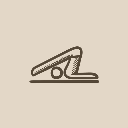 plough: A man practicing yoga plough pose vector sketch icon isolated on background. Hand drawn man practicing yoga plough pose icon. Man in yoga plough pose sketch icon for infographic, website or app.
