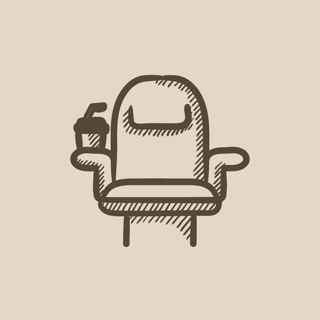 Cinema chair with disposable cup vector sketch icon isolated on background. Hand drawn Cinema chair with disposable cup icon. Cinema chair sketch icon for infographic, website or app.