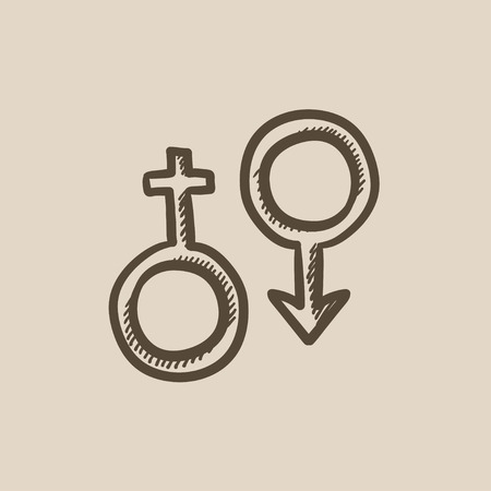 male symbol: Male and female symbol vector sketch icon isolated on background. Hand drawn Male and female symbol icon. Male and female symbol sketch icon for infographic, website or app.