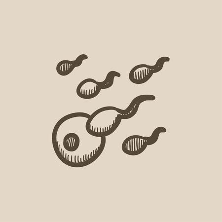 male sperm: Fertilization vector sketch icon isolated on background. Hand drawn Fertilization icon. Fertilization sketch icon for infographic, website or app.