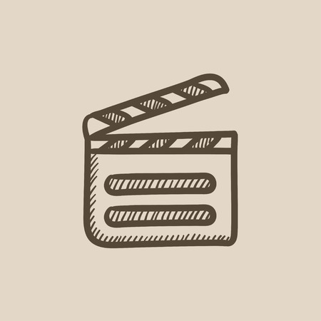 cinematograph: Clapboard vector sketch icon isolated on background. Hand drawn Clapboard icon. Clapboard sketch icon for infographic, website or app.