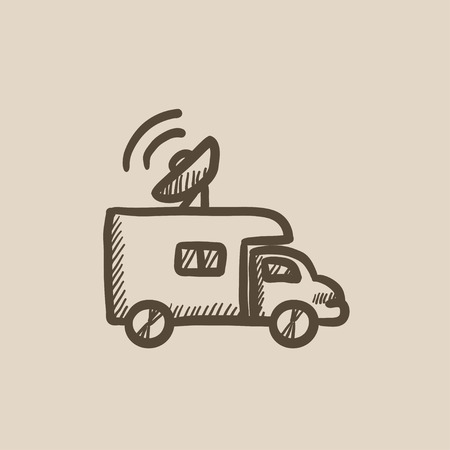 news van: Broadcasting van vector sketch icon isolated on background. Hand drawn Broadcasting van icon. Broadcasting van sketch icon for infographic, website or app.