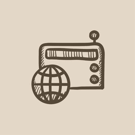 world receiver: Retro radio vector sketch icon isolated on background. Hand drawn Retro radio icon. Retro radio sketch icon for infographic, website or app. Illustration