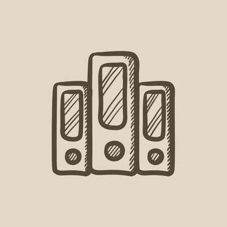 in a row: Row of folders vector sketch icon isolated on background. Hand drawn Row of folders icon. Row of folders sketch icon for infographic, website or app.
