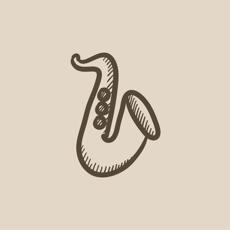 orchestral: Saxophone vector sketch icon isolated on background. Hand drawn Saxophone icon. Saxophone sketch icon for infographic, website or app. Illustration