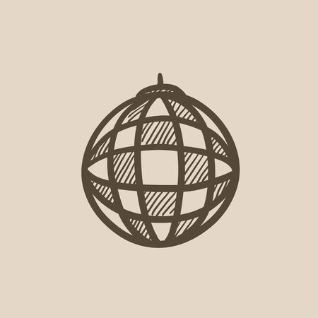 mirrorball: Disco ball vector sketch icon isolated on background. Hand drawn Disco ball icon. Disco ball sketch icon for infographic, website or app.