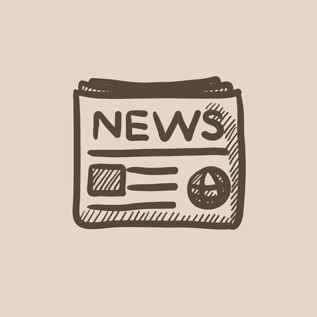 newspaper headline: Newspaper vector sketch icon isolated on background. Hand drawn Newspaper icon. Newspaper sketch icon for infographic, website or app.