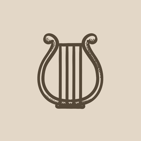 lyre: Lyre vector sketch icon isolated on background. Hand drawn Lyre icon. Lyre sketch icon for infographic, website or app.